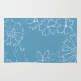 Blue and White Floral Rug