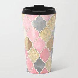 Silver Grey, Soft Pink, Wood & Gold Moroccan Pattern Travel Mug