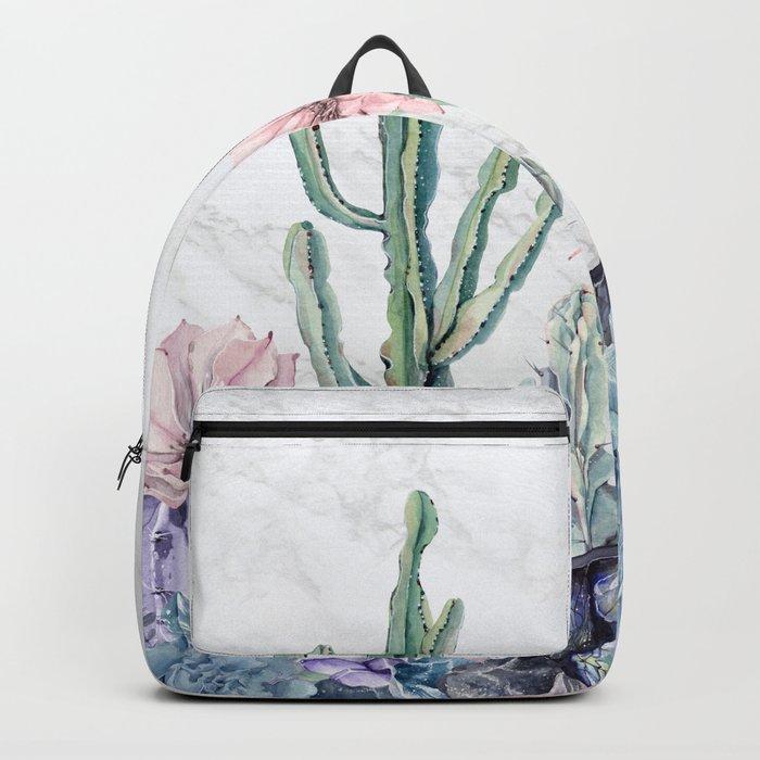 Desert Gemstone Oasis Marble Black and White Backpack