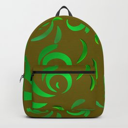 Pattern of green doodles and curls in floral ornament in ethnic style on an olive background. Backpack