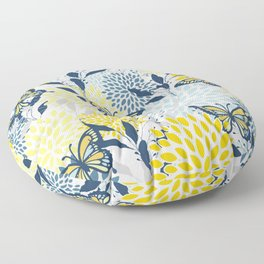 Floral and Butterflies Print, Blue and Yellow Floor Pillow