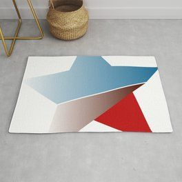 Ombre red white and blue star Rug