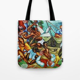 """African American Classical Masterpiece """"The Mutiny on the Amistad"""" by Hale Woodruff Tote Bag"""