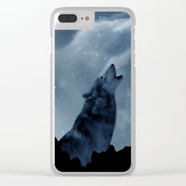 Wolf howling at full moon Clear iPhone Case