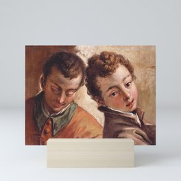 Sebastiano Ricci - Juxtaposed Heads of a Young Man and a Boy Mini Art Print