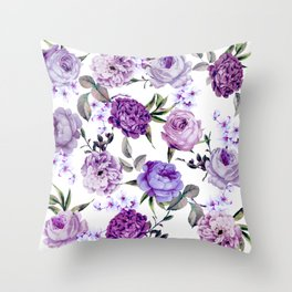 Elegant Girly Violet Lilac Purple Flowers Throw Pillow