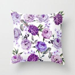 Elegant Girly Violet Lilac Purple Flowers Deko-Kissen