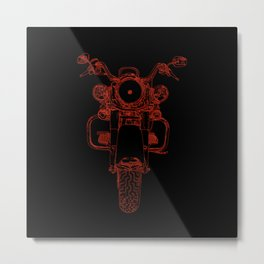 cycle drawing, front, red on black Metal Print