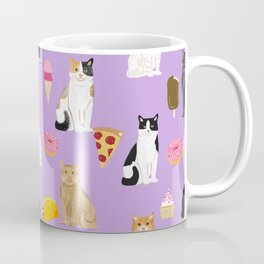Cat breeds junk food pizza french fries food with cats gifts ice cream donuts Coffee Mug