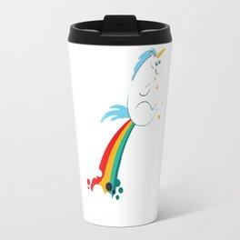 funny unicorn rainbow fart Travel Mug