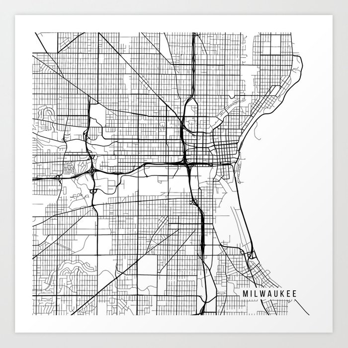 Milwaukee Map Usa Black And White Art Print By Mainstreetmaps