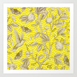 Lemons Pattern (yellow) Art Print
