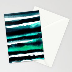 Abstract green and black painting Stationery Cards