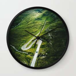 winding road in the faroe islands Wall Clock