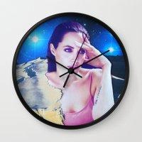 angelina jolie Wall Clocks featuring Angelina Jolie by John Turck