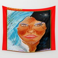 goddess Wall Tapestries featuring GODDESS by KEVIN CURTIS BARR'S ART OF FAMOUS FACES