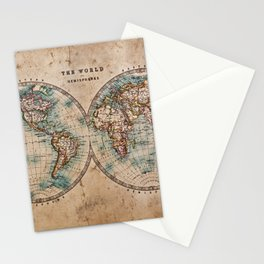 Vintage Map of the World 1800 Stationery Cards
