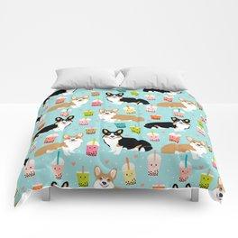 Corgi boba tea bubble tea kawaii food welsh corgis dog breed gifts Comforters