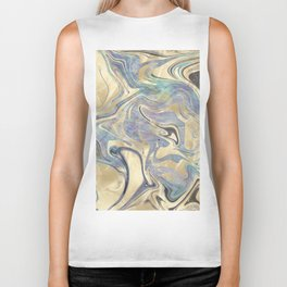 Liquid Gold Mermaid Sea Marble Biker Tank