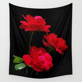 Red roses on black background Wall Tapestry