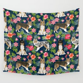 Shetland Sheepdog sheltie tropical florals floral dog breed pattern gifts for dog lover Wall Tapestry