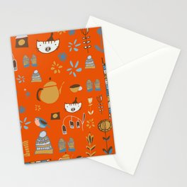 hygge cat and bird orange Stationery Cards
