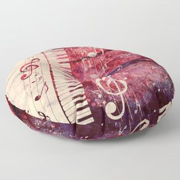 Illustration of a piano keys with musical notes and red rose Floor Pillow
