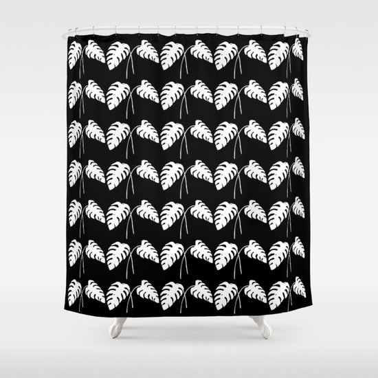 Tropical Monstera Leaves White on Black Shower Curtain