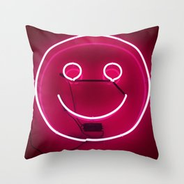 PINK SMILE NEON SIGN Throw Pillow