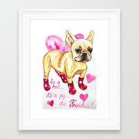 frenchie Framed Art Prints featuring Frenchie by AnnaToman
