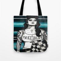 gangster Tote Bags featuring gangster by frankcaponefelix