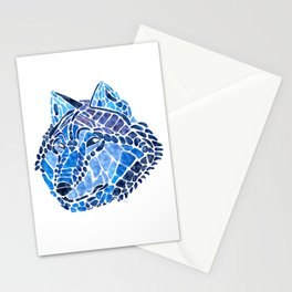 Blue Wolf Painted Mosaic Illustration Stationery Cards