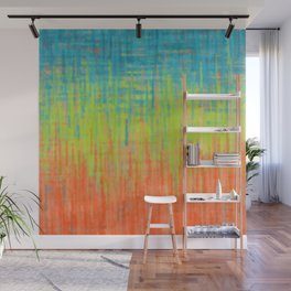 Teal Lime Orange Abstract Wall Mural