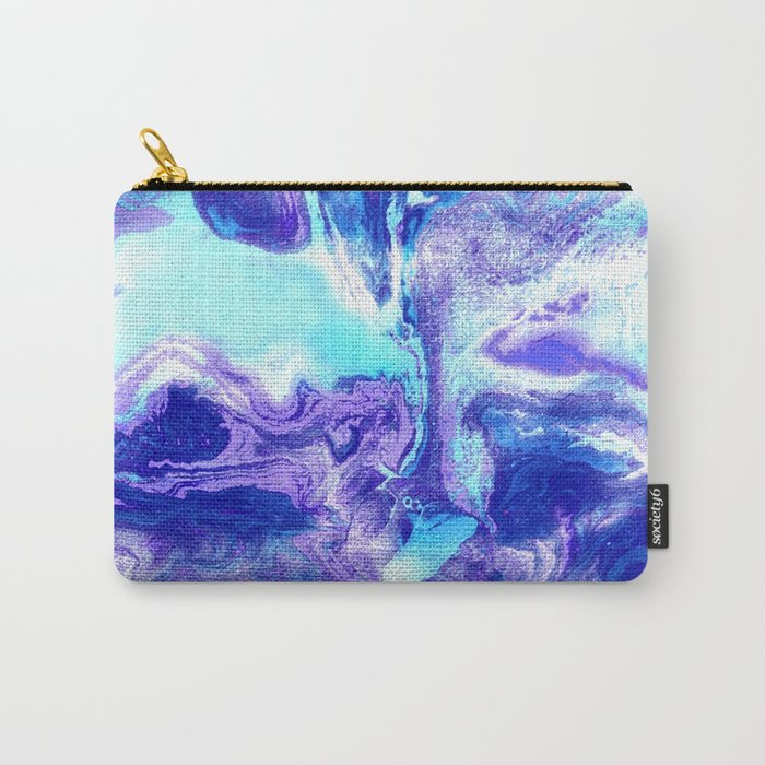Swirling Marble in Aqua, Purple & Royal Blue Carry-All Pouch