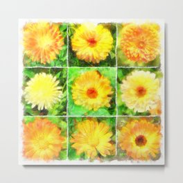 Watercolour Collage of Yellow And Orange Marigolds Metal Print