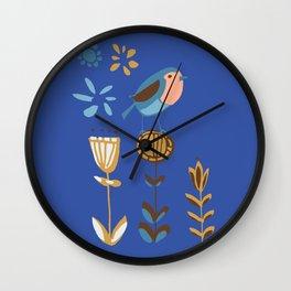 hygge blue bird Wall Clock