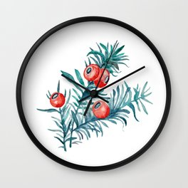 Watercolor Yew Berries Wall Clock