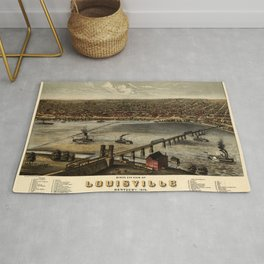 Map Of Louisville 1876 Rug