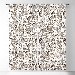 Mehndi or Henna (Brown and White) Blackout Curtain