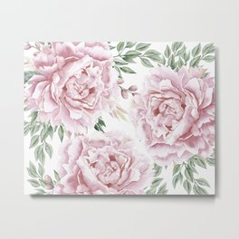 Pretty Pink Roses Floral Garden Metal Print