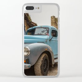 Historic blue-colored pickup parked in the streets of an historic Italian village Clear iPhone Case