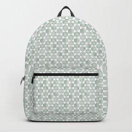 Gray Green and White Hexagonal Block Print Pattern Backpack