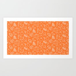 Food Art Simple Pattern In Orange Art Print