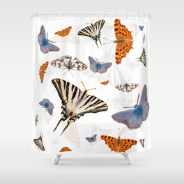 Colorful butterflies of europe Shower Curtain