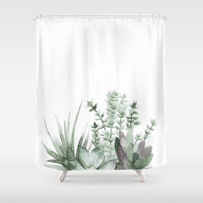 Succulent Shower Curtain By Decadent81