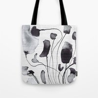georgiana paraschiv Tote Bags featuring ink flowers by Georgiana Paraschiv