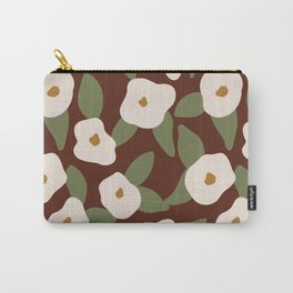 White Brown flowers Carry-All Pouch