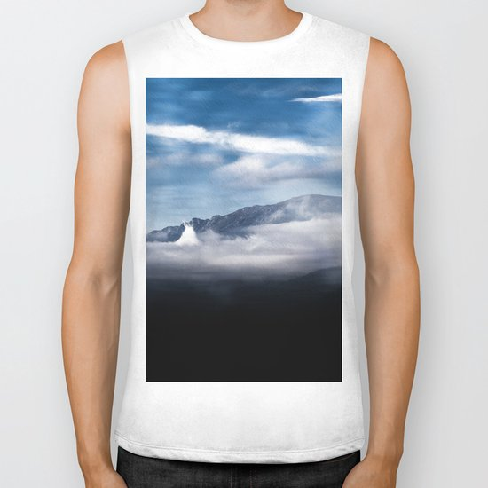 Mountains and fog. Landscape Biker Tank