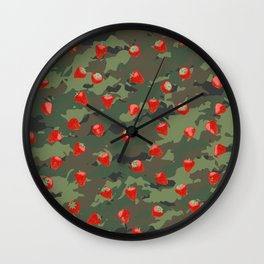 Kawaii Strawberry Camo WOODLAND Wall Clock