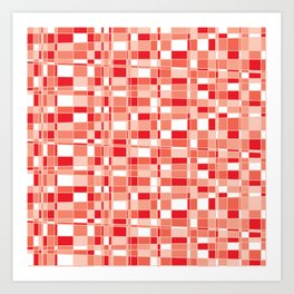 Mod Gingham - Red Art Print